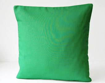 16 inch bright green cushion cover, solid grass green accent decorative pillow cover