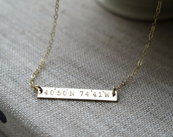 Coordinates Latitude and Longitude Customized Gold Bar Coordinate Jewelry Hand Stamped Jewelry Necklace by Betsy Farmer Designs