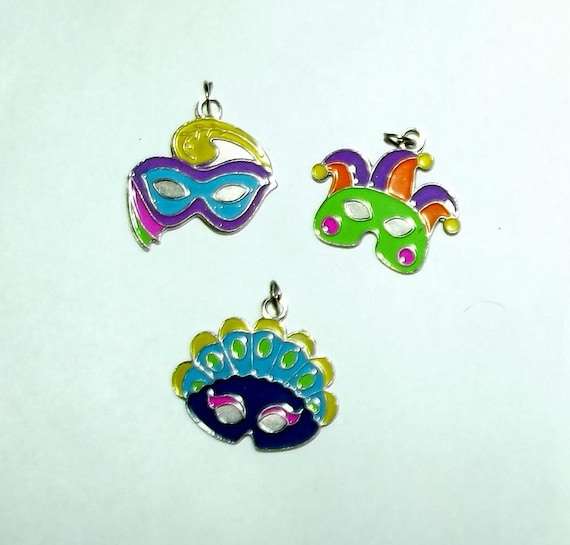 Puppy Bows craft items ~ set of 3 enamel Mardi Gras face mask charms yellow purple green  (CS4)