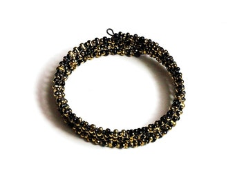 Women's Black Gold Wrap Around Bracelet, Black and Gold Jewelry, Beaded Wrap Bracelet, Beaded Cuff