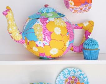 Tea set sewing pattern, tea set pattern, tea set PDF, fabric teapot,plush pdf pattern, stuffed toy pdf, softie pdf pattern, tea set