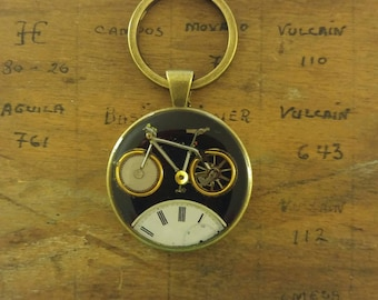 Bicycle Watch parts key chain, pendant, necklace, steampunk