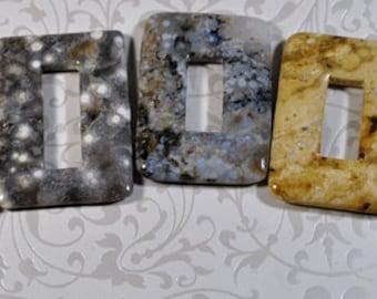 Ocean Jasper rectangle pendants, not drilled, 35x50mm, 3 colors, 1 of each, #860