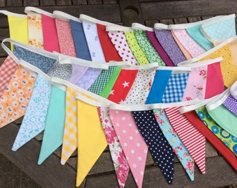 Summer Brights Extra Long Bunting / Garland / Fabric Banner - 48 Flags - 33ft or 10m long
