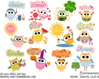 Month owls digital clip art for Personal and Commercial use - INSTANT DOWNLOAD