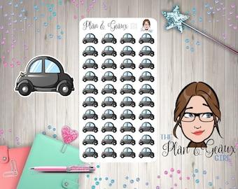 Car Planner Stickers, Car Note Planner Sticker, Car Wash, Gas,  Black Car, Happy Planner, Bullet Journal, Bujo, Erin Condren, FUN-209