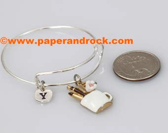 KIDS SIZE - Pen Holder initial bracelet, writer bracelet, gift for writer, gift for calligrapher, silver pen cup bangle, teacher gift