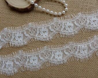 White Lace Trim, Chantilly Lace Trim, Wedding Garter Lace, Bridal Veils Fabric Lace 3 Yards
