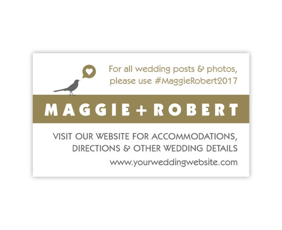 Wedding Website Cards, Enclosure Cards, Wedding Hashtag Cards or Gift Registry Cards, Printed, White and Gold with Bird, 20 Pieces Per Order