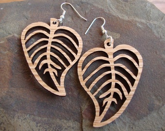 Sustainable Wooden Hook Earrings - Leaves - in Oak - Wood Dangle Earrings