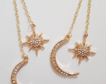 Celestial Gold Star & Moon Rhinestone Art Deco Dangle Chain Earrings