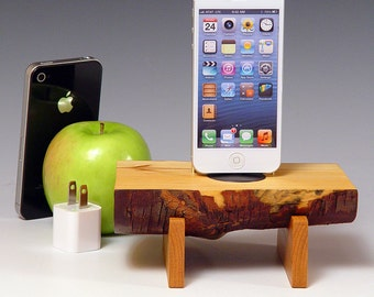 Natural wood Docking station for ANY iPhone. Includes wall charger. 533. Live edge Eucalyptus and Black Cherry.  Ready to ship.