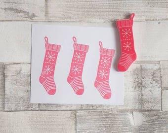 Christmas Stocking Stamp - Christmas Stamp - Holiday Stamps - Christmas Decor -  Christmas Santa stocking - christmas gift wrap