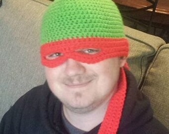 Crochet Ninja Turtle Hat - Newborn to XXL Adult sizes