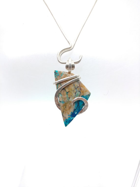 Namibian Shattuckite Chrysocolla Pendant | Sterling Silver Pendant | Gemstone Pendant | Chrysocolla Jewelry | Natural Stone Pendant