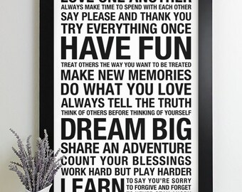 Family Rules Poster Subway Art Print House Rules Family Rules Sign Playroom Bus Roll
