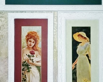 THREE Antique Vintage Romantic Framed Pictures Shabby Chic
