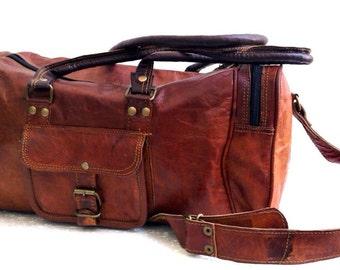 "18"" genuine Leather vintage duffle bag luggage bag gym bag weekend bag overnight"