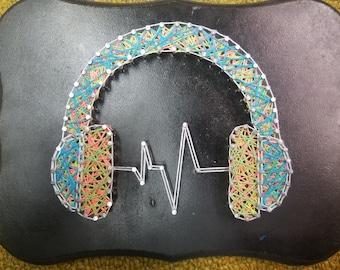 Music is Life HeadPhone String Art [Black Light Reactive]