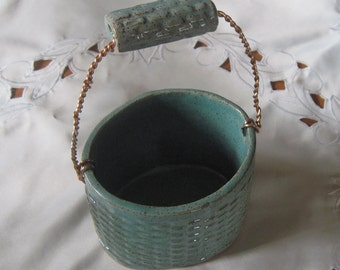 Ceramic Stoneware Decorative Basket Easter hand built