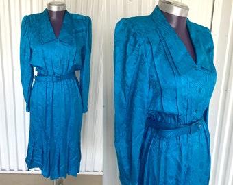 Amazing VINTAGE 1980s Argenti Petites Blue Silk Tunic Dress — Size 8