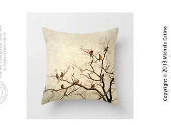 Birds in a Tree Cedar Waxwings in Naked Tree Branches Bird Silhouette Creamy Ivory Tan Throw Pillow Cover