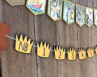 Where the Wild Things Are Photo Banner - 1st Birthday Banner, Wild thing banner