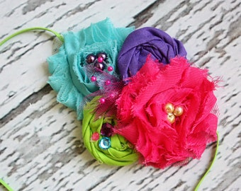 All Bright With Me- pink, teal, lime and purple chiffon flower and  rosette headband