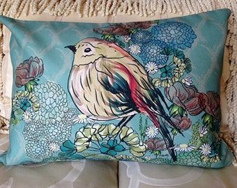 Custom pillow cover - BEAUTIFUL BIRD in the HYDRANGEAS... Teal