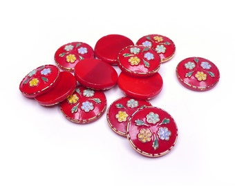 Vintage Red Glass Flower Stone, enamelled multi-coloured flowers and leaves, real gold detail - 18 mm - 2 pcs - C78