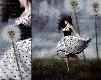 Dandelion Fantasy Surreal Whimsical Nature Art Print