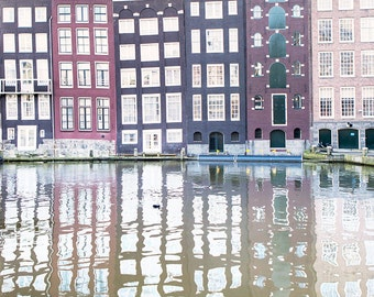 Amsterdam Photography - Damrak Reflections, Crooked Houses, Holland, Fine Art Photograph, Dutch Travel Wall Decor, Large Wall Art