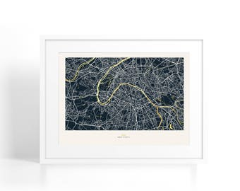 Framed Paris Coordinates Map - Gold Foil