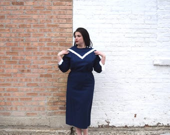 Vintage 80s does 50s Dress | Navy Blue Dress | Sailor Dress with Oversized Collar | Large Dress L | Size 14 Dress | Wiggle Dress Linen