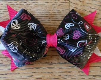 Hot Pink Black White Chalkboard Valentine Bow