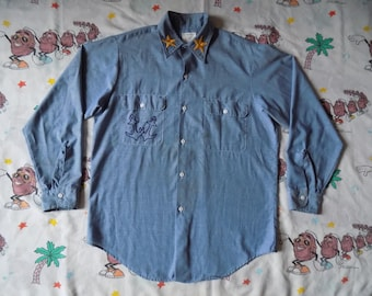 Vintage 70's Big Mac JC Penny Chambray Embroidered Work Shirt, size Large