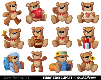Teddy bear clipart / Invitation - Commercial & Personal