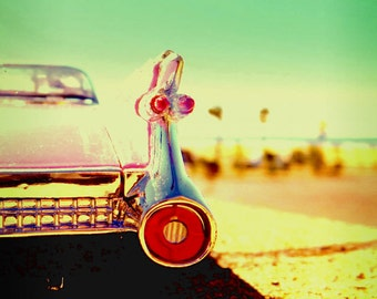 Pink Cadillac, Closeup Tail Shot, Palm Trees, Santa Monica Beach Shadow Sunshine Summer Ocean Art Photograph Print Photography