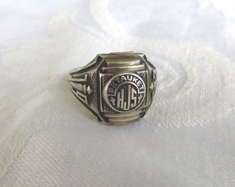 Vintage Class Ring, Setauket Junior High School Ring, Art Deco Sterling Silver School Ring 1963, Vintage School Jewelry