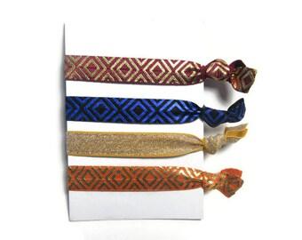 Mayan Hair Ties, Aztec Hair Ties, Tribal Print Hair Ties, Hair Tie Set, Women's Hair Ties, Metallic Hair Ties