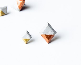 Diamond Cut Concrete Earrings Gold Dipped, Silver Dipped, Copper Dipped Minimalist Geometric Studs Hypoallergenic