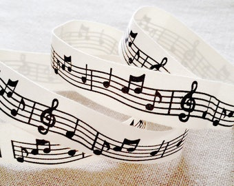 100% natural cotton Ribbon NOTE music music MUSIC TREBLE clef to FA 20mm