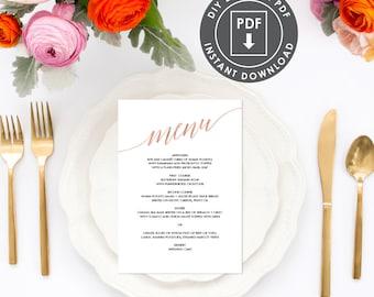 Rose Gold Printable Menu Template | Instant Download Wedding Menu, Printable Menu, Calligraphy Wedding Menu, DIY Wedding Menu Template, 005R