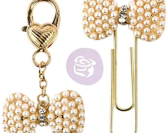 PTJ Charms Bows • Pearl & Gold Bow with Rhinestone Middle Prima Traveler's Journal Decorative Clip and Charm Set (596385)