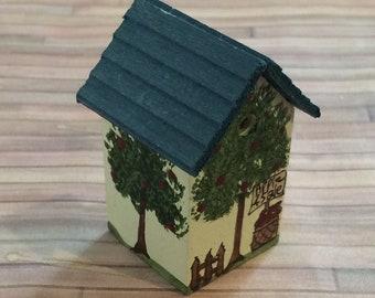 Handmade Wooden Miniature with Apple trees Birdhouse