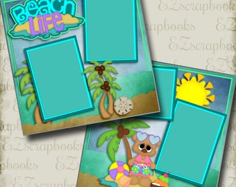 BEACH LIFE Girl - 2 Premade Scrapbook Pages - EZ Layout 2990