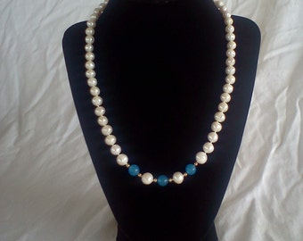 sapphire and pearl necklace handmade