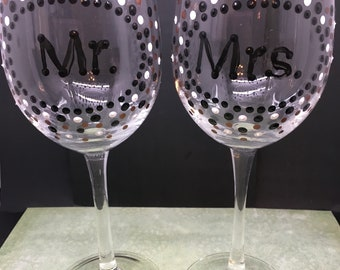 Stemware MR and MRS Wine Glasses Hand Painted Black White and Bronze Polka Dots SET of 2 Barware Drinkware Toasting Glasses Table Decor Gift
