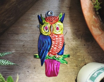 Mexican Tin Owl Ornament, Christmas Decor, Owl Lover Gift, Vintage Christmas Decoration