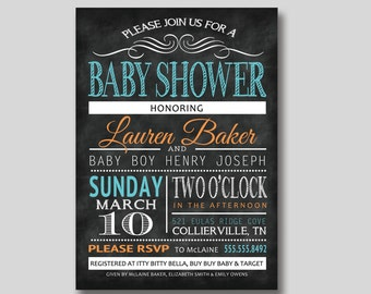Chalkboard Typography Baby Shower Invitation - Custom DIY Printable
